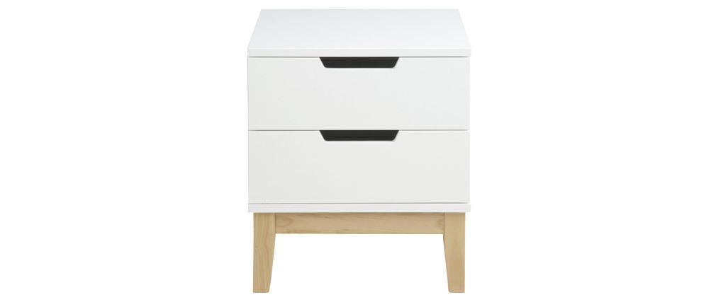 Table de chevet design bois et blanc 2 tiroirs SNOOP - Miliboo