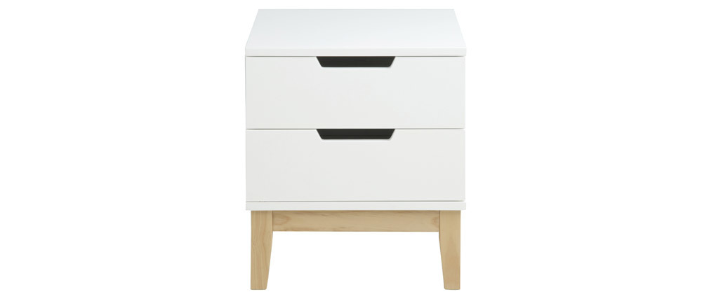 Table de chevet design bois et blanc 2 tiroirs SNOOP - Miliboo