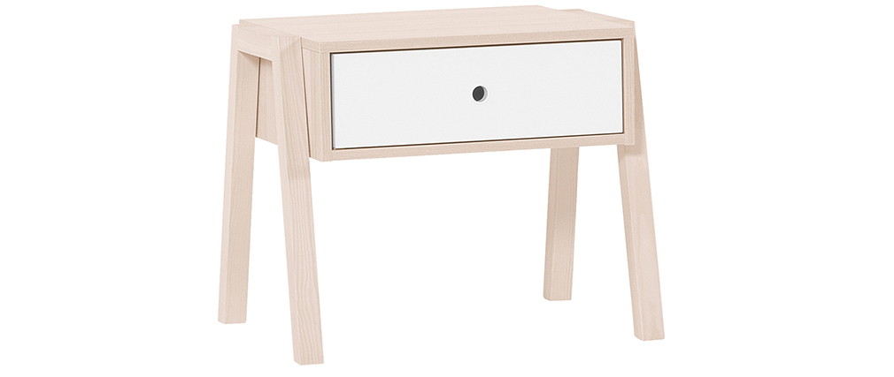 Table de chevet design bois et blanc EASY