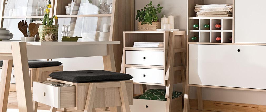 Table de chevet design bois et blanc EASY
