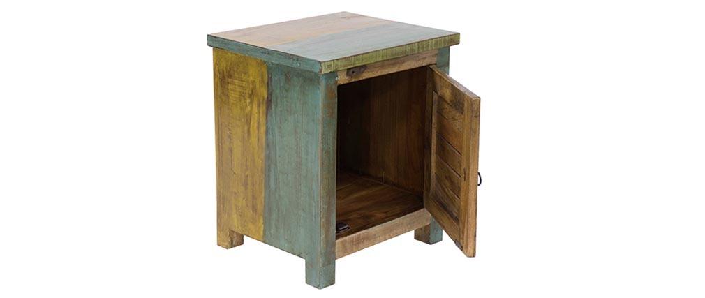 Table de chevet design bois recyclé MAYOTTE