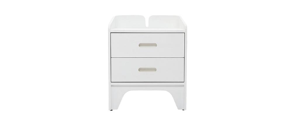 Table de chevet design frêne blanc NEVIL