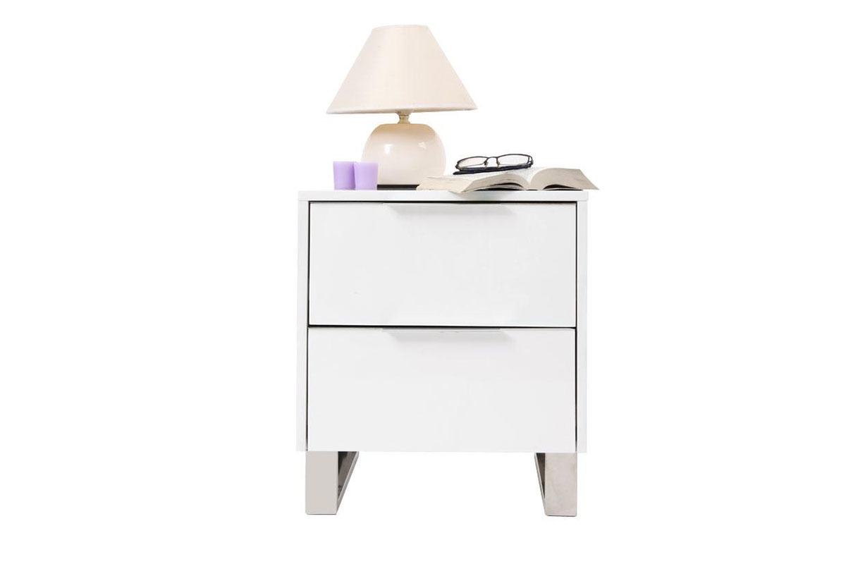 Table de nuit a tiroirs coloris blanc la rochelle 12 for Table de nuit blanc