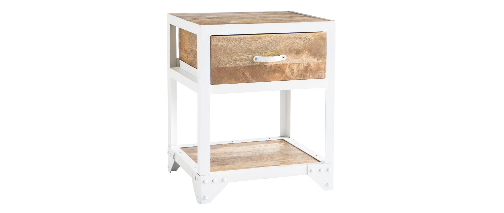 Table de chevet design manguier et métal blanc PUKKA
