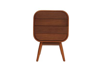 Table de chevet design noyer 2 tiroirs BJORG