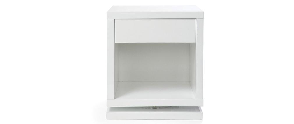 Table de chevet design pivotante blanc brillant MAX
