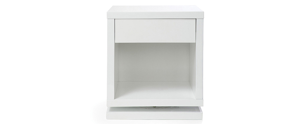 Table de chevet design rotative blanc brillant MAX - Miliboo