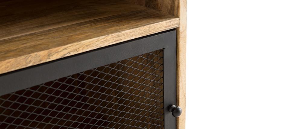 Table de chevet en bois de manguier et métal perforé RACK