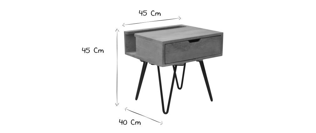 Table de chevet en manguier massif et métal noir VIBES