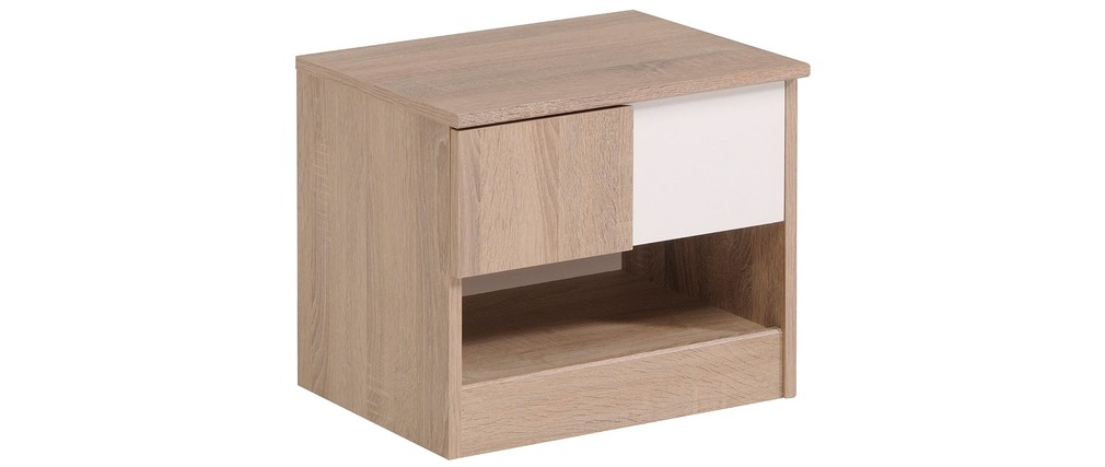 table de chevet enfant ch ne et blanc parker miliboo. Black Bedroom Furniture Sets. Home Design Ideas