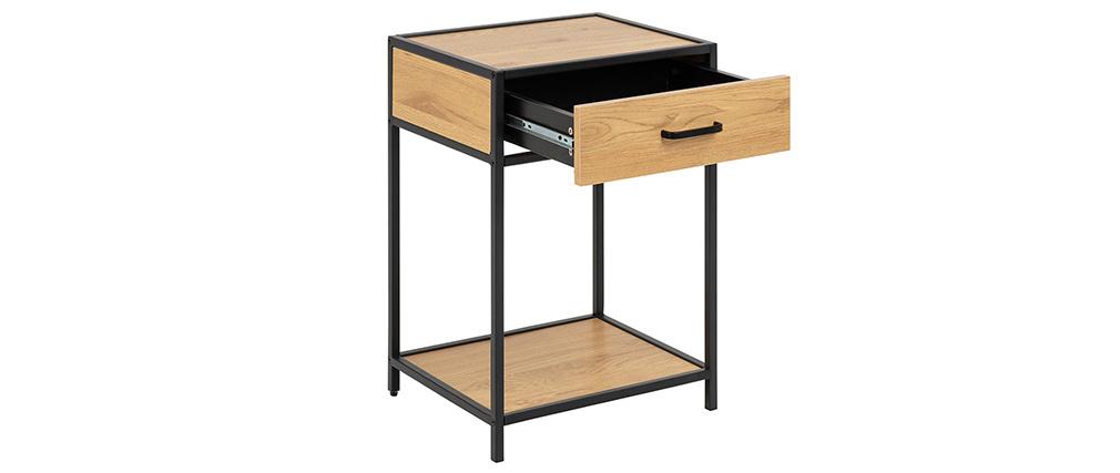 Table de chevet industrielle bois et métal noir TRESCA
