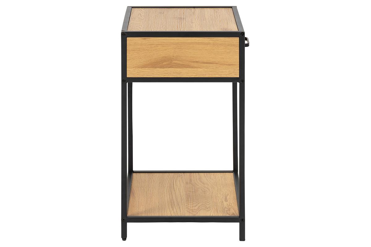 Petite Table De Nuit Bois table de chevet industrielle bois et métal noir tresca - miliboo