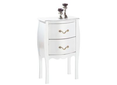 Table de chevet / nuit baroque blanche 2 tiroirs Louisa