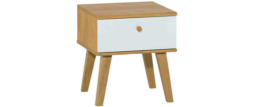 Table de chevet scandinave 1 tiroir blanc et chêne MAHE