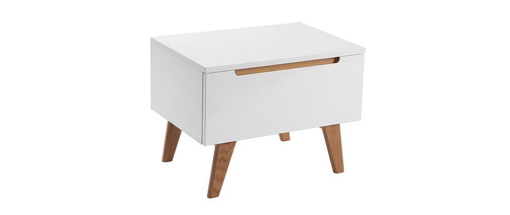 Table de chevet scandinave blanc brillant et frêne MELKA