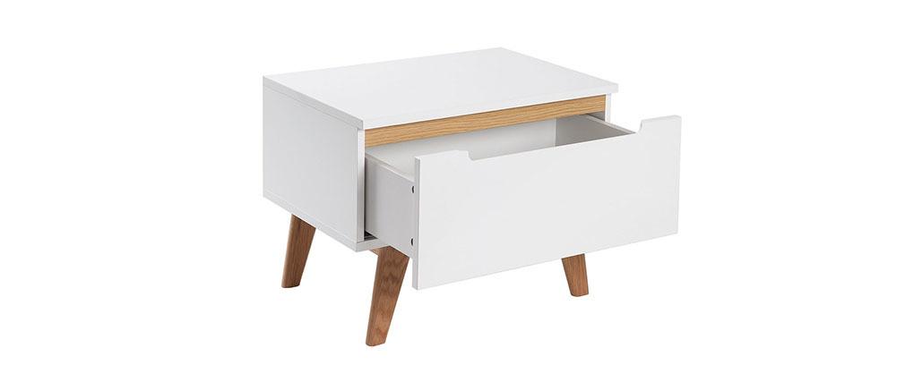 Table de chevet scandinave blanc brillant et fr ne melka for Table chevet scandinave