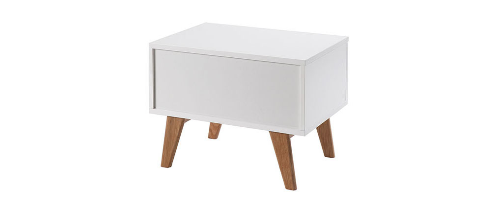 Table de chevet scandinave blanc brillant et frêne MELKA