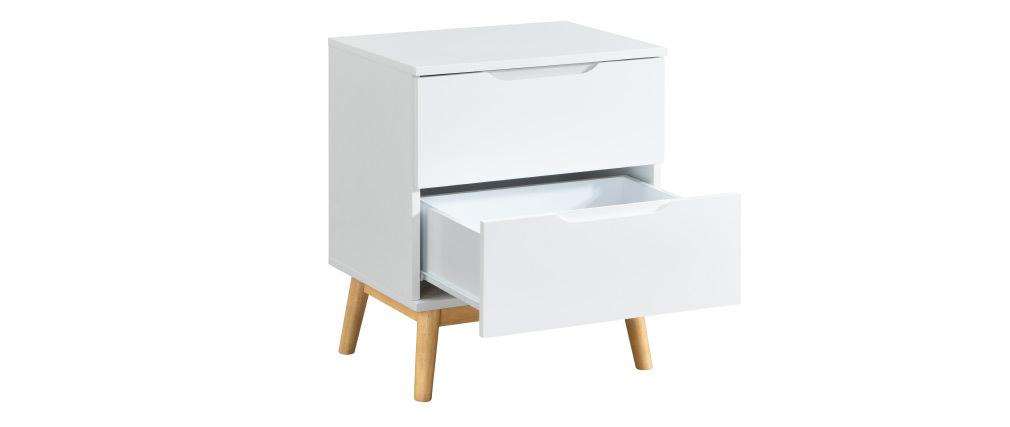Table de chevet scandinave blanc et bois 2 tiroirs FELIX
