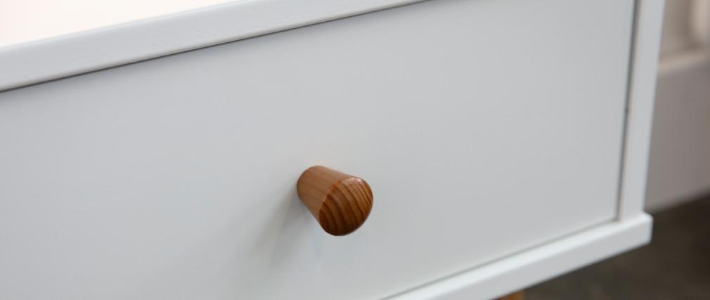 Table de chevet scandinave blanc et bois NEA