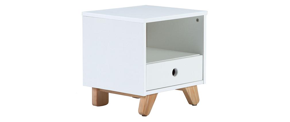 Table de chevet scandinave blanc et pin PITI