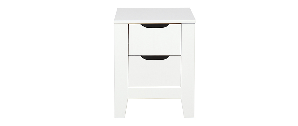 Table de chevet scandinave blanche avec tiroirs MOLENE