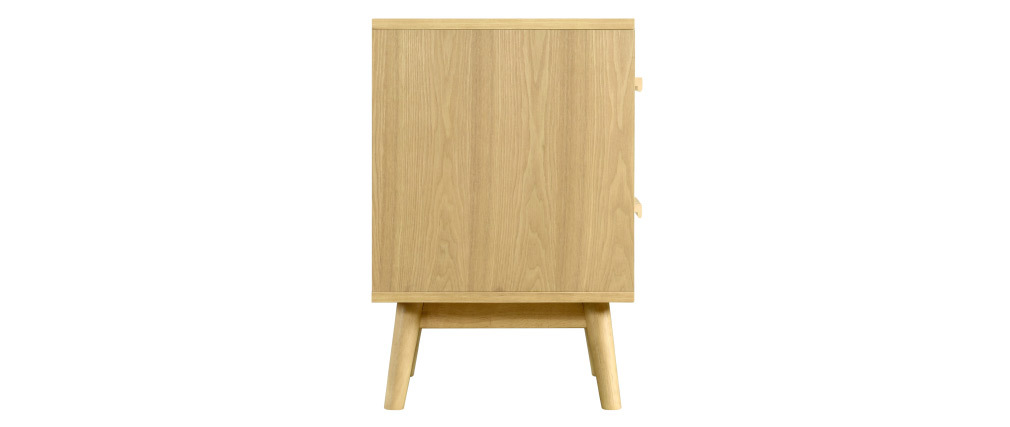 Table de chevet scandinave bois clair et blanc 2 tiroirs TALIA