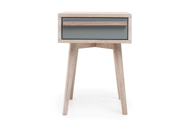 Table de chevet scandinave ch ne blanchi et gris mat - Table de chevet gifi ...