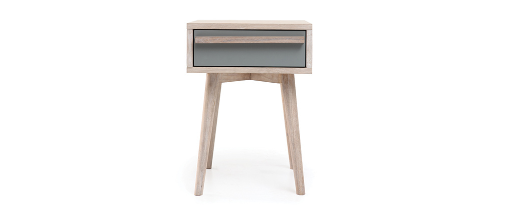 Table de chevet scandinave chêne blanchi et gris mat NARVIK