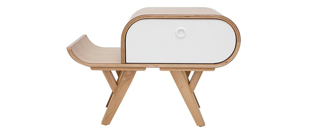 Table de chevet scandinave frêne et blanc (gauche) KYOTO - Miliboo & Stéphane Plaza