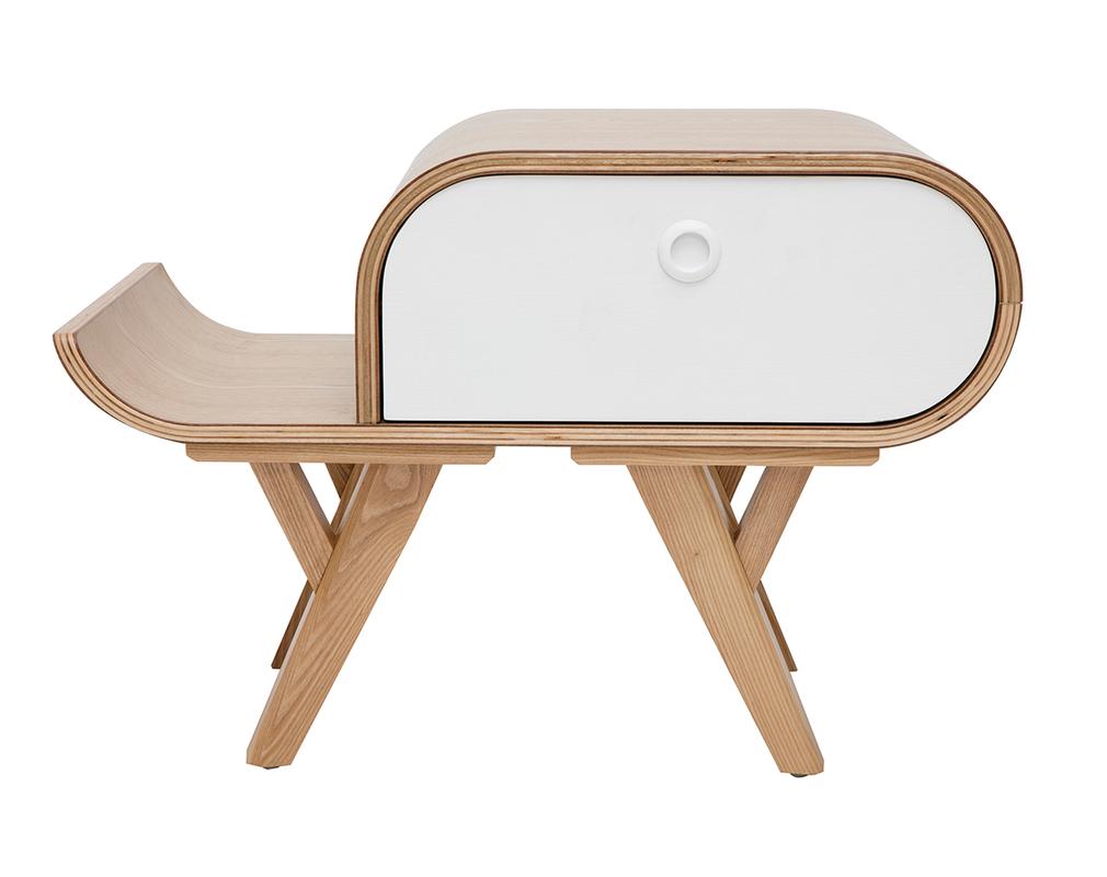 Table De Chevet Scandinave Frene Et Blanc Gauche Kyoto Miliboo