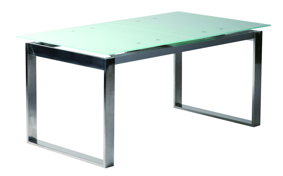 table de cuisine manger rallonges en inox et verre tremp inola miliboo. Black Bedroom Furniture Sets. Home Design Ideas
