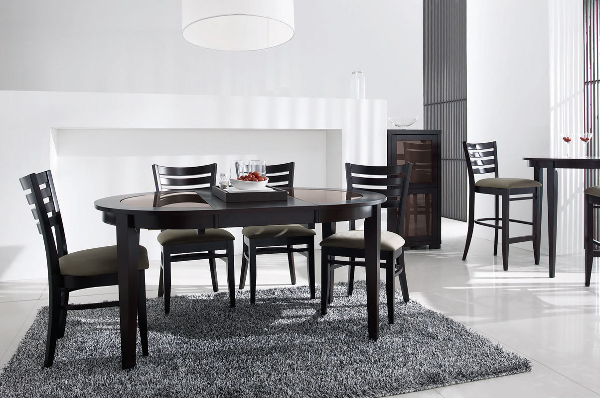 table wenge verre salle manger. Black Bedroom Furniture Sets. Home Design Ideas