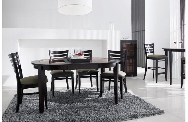 Table de cuisine salle manger rallonges en ch ne weng et plateau en ve - Meuble tv wenge et verre ...