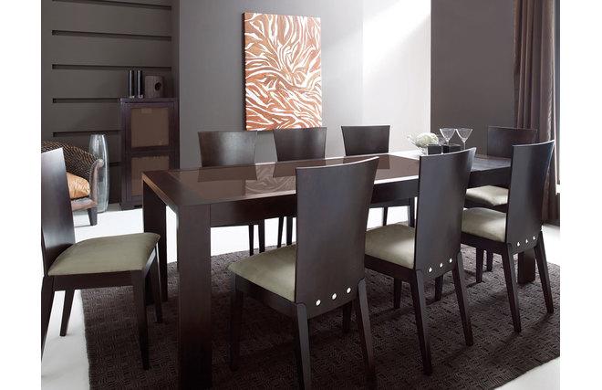 Table de cuisine salle manger rallonges en ch ne weng et verre tremp - Table de salle a manger en chene avec rallonge ...