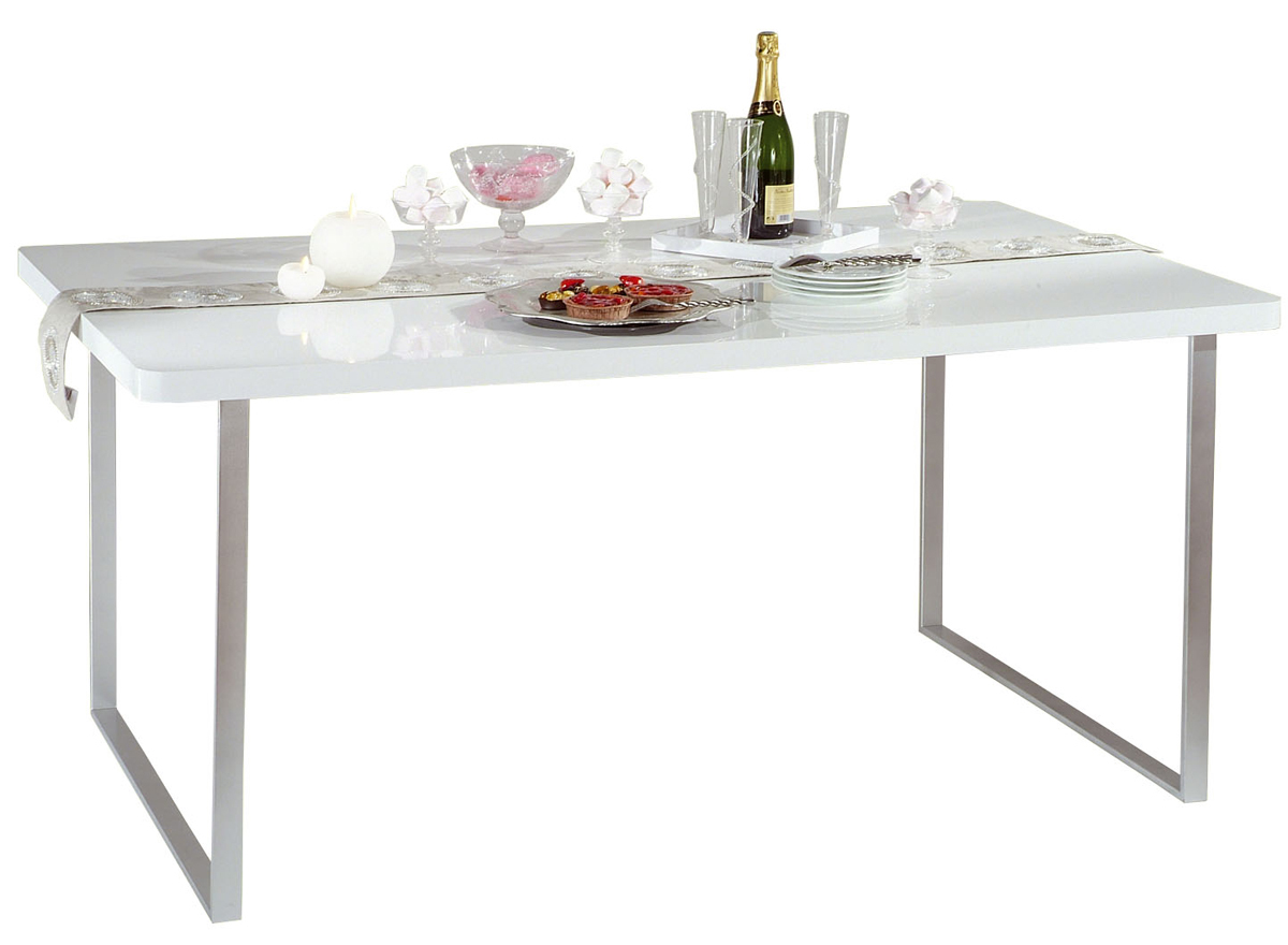 table de cuisine salle manger blanche laqu e rectangulaire new york miliboo. Black Bedroom Furniture Sets. Home Design Ideas