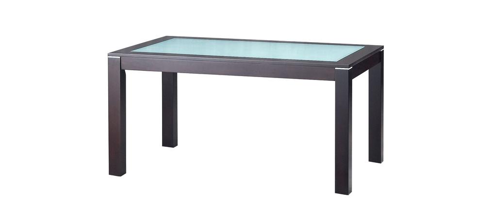 Table de cuisine salle manger contemporaine en ch ne massif et verre trem - Table a manger en verre trempe ...
