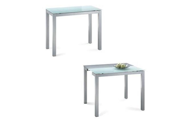 Table de cuisine salle manger moderne rallonge en for Table cuisine verre trempe