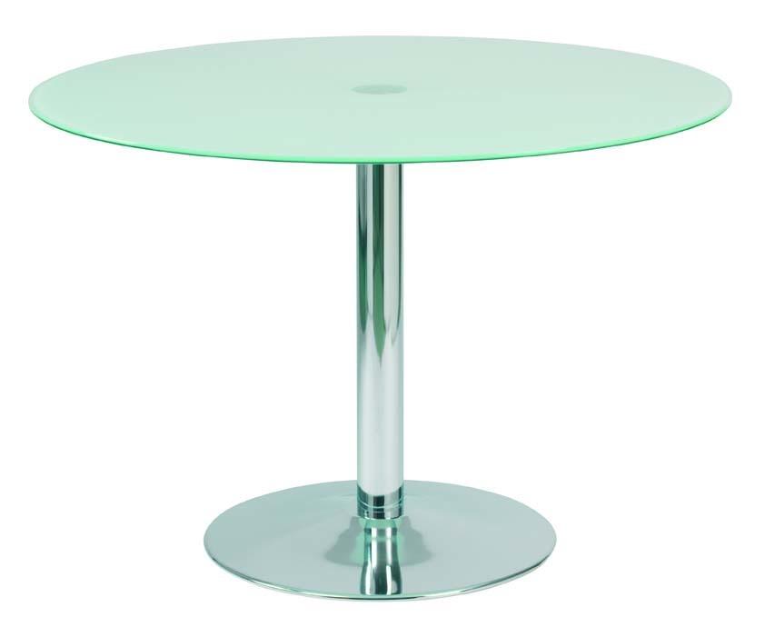 Table de cuisine salle manger ronde en acier et verre tremp janis 110cm - Table de cuisine en verre trempe ...