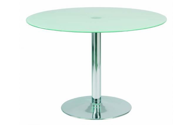 Table de cuisine salle manger ronde en acier et verre for Salle a manger table ronde verre