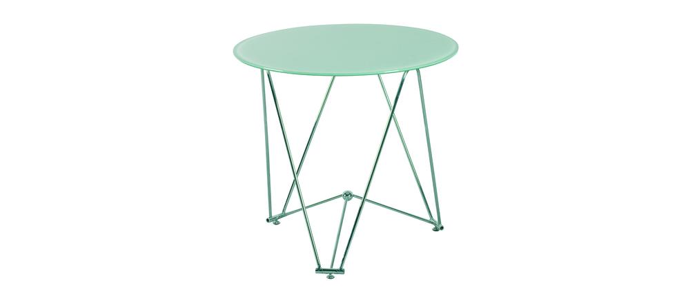 Table de cuisine salle manger ronde janis 80 cm en for Table a manger en verre trempe