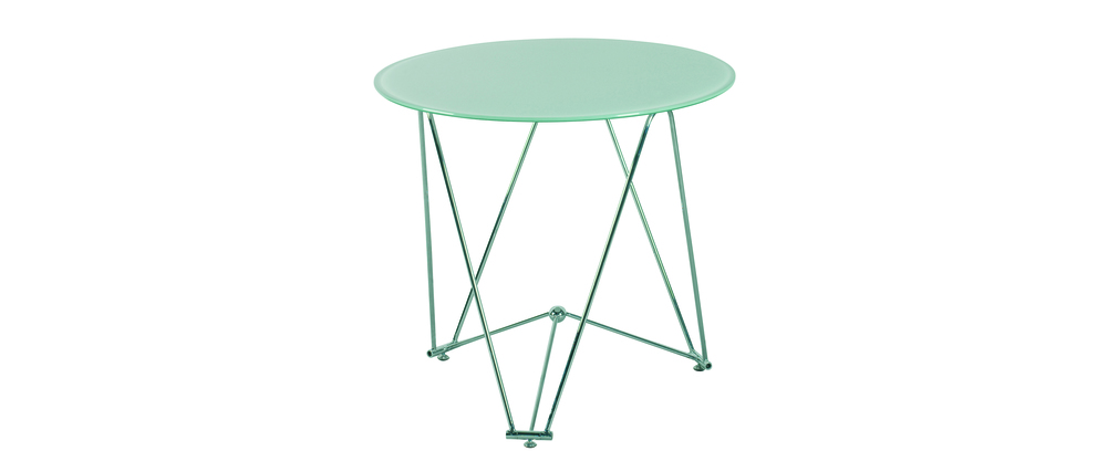 Table de cuisine salle manger ronde janis 80 cm en for Table de salle a manger ronde en verre