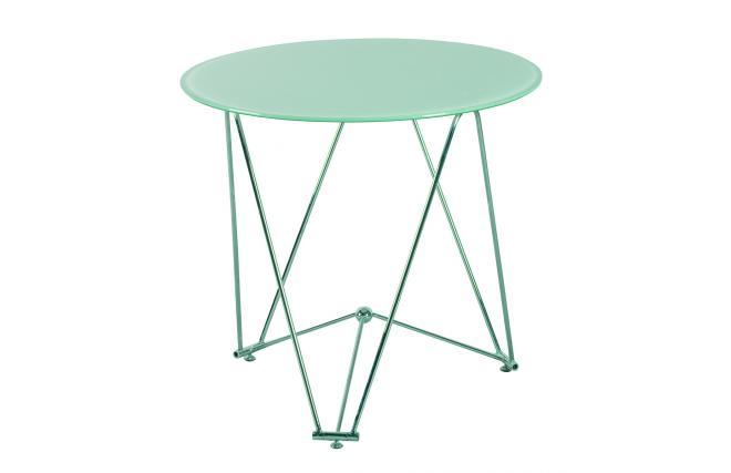 Table de cuisine salle manger ronde janis 80 cm en acier et verre tremp - Table cuisine verre trempe ...
