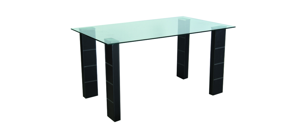 Table de cuisine salle manger verre tremp abby miliboo for Table de cuisine en verre trempe