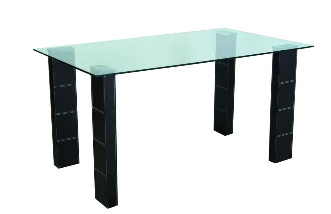 Table de cuisine salle manger verre tremp abby miliboo for Table cuisine verre trempe