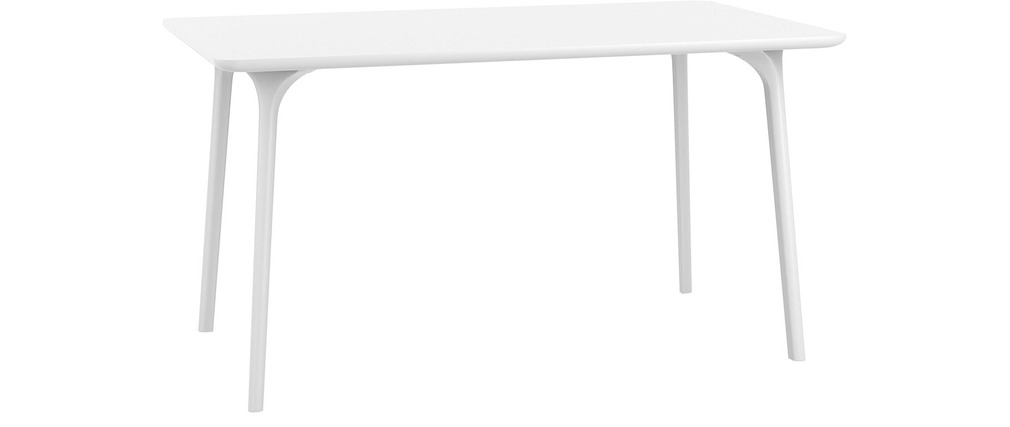 table de jardin design 140 x 80 cm blanc loly miliboo. Black Bedroom Furniture Sets. Home Design Ideas