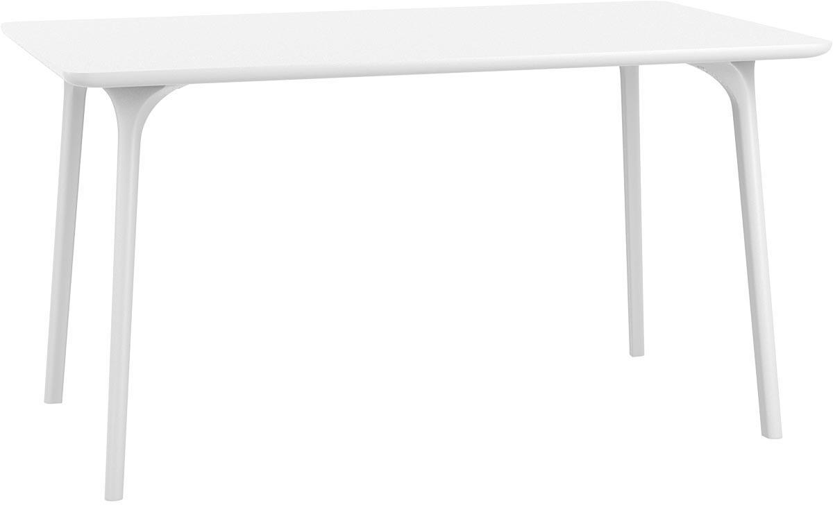 Table de jardin design 140 x 80 cm blanc loly soldes for Table 140 x 80 design