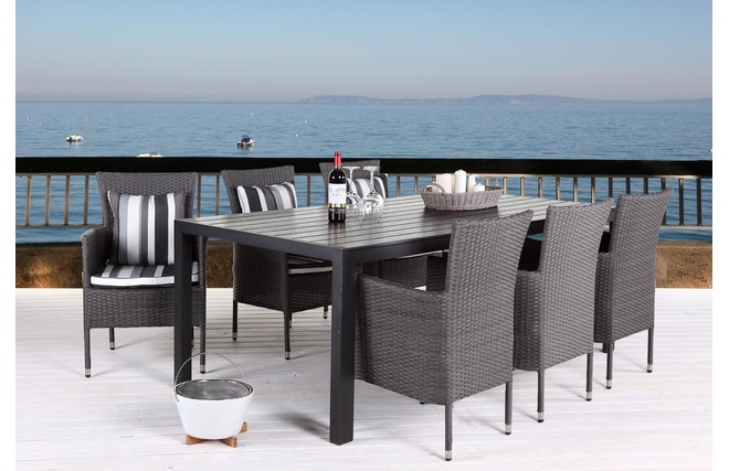 Table de jardin design imitation bois gris fonc 200 x 90 remos miliboo - Imitation mobilier design ...