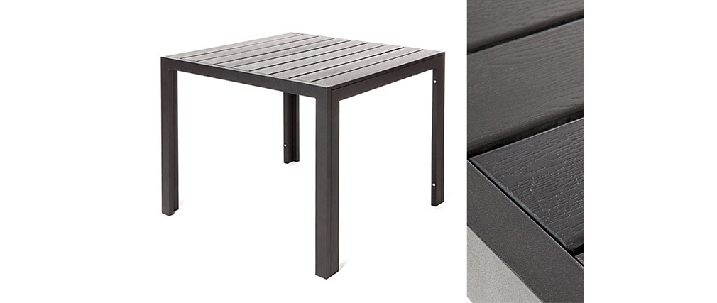 Table de jardin design imitation bois noir 90 x 90 remos - Table de jardin design ...