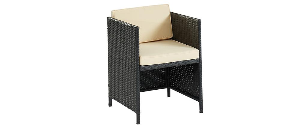 Table de jardin en résine tressée avec 2 chaises PICCOLO