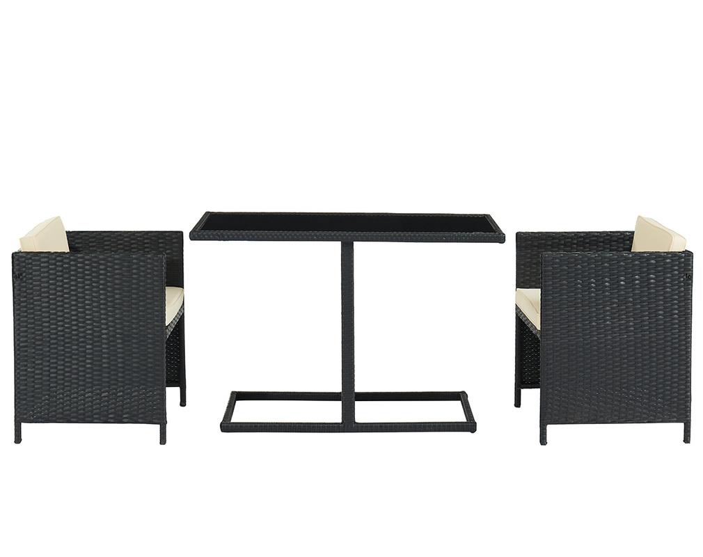 Table de jardin en résine tressée avec 2 chaises PICCOLO ...